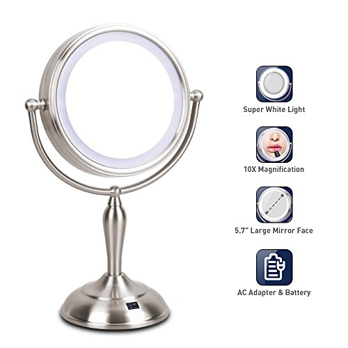 LED Makeup Mirror – Lighted Vanity Mirror with 1x/10x Magnifying, 7.5 Inch Double Sided Mirror With Stand, AC Adapter Or Battery Operated, Natural White Light, Cord Or - Makeup Magnifying