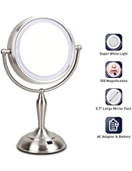LED Makeup Mirror - Lighted Vanity Mirror with 1x/10x Magnifying, 7.5 Inch Double Sided Mirror With Stand, AC Adapter Or Battery Operated, Natural White Light, Cord Or Cordless