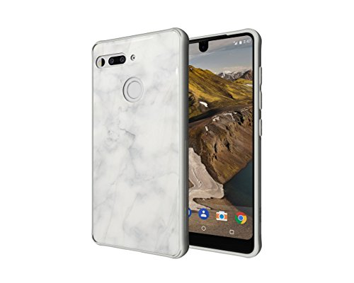 Essential Phone PH-1 Case, TUDIA [Ceramic Feel] Lightweight [GLOST] TPU Bumper Shock Absorption Cover Featuring [Tempered Glass Back Panel] for Essential Phone PH-1 (White Marble)