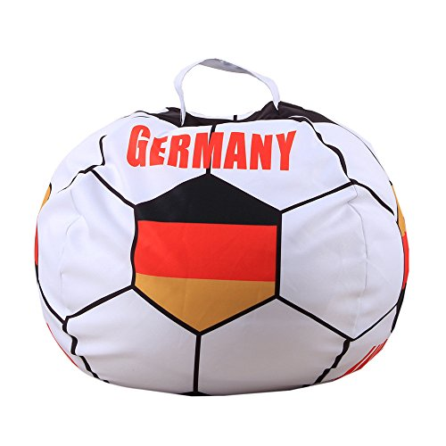 DKY Stuffed Animal Storage Bean Bag Cover,Toy Storage Solution To Clean Up & Organize for Kids Bedroom,Football World Cup Pattern Large 26'' - GERMANY by DKY