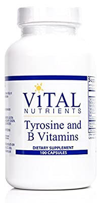 Vital Nutrients - Tyrosine and B-Vitamins - Thyroid and Nerve Support Formula - 100 Capsules
