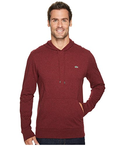 Long T-shirt Layered Sleeve Hooded (Lacoste  Men's Long Sleeve Jersey Hoodie Tee Red Basque Chine 5)