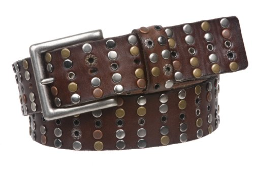 "1 1/2"" Cowhide Multi Metal Circle Studded Vintage Oil Tanned Leather Belt, Brown 