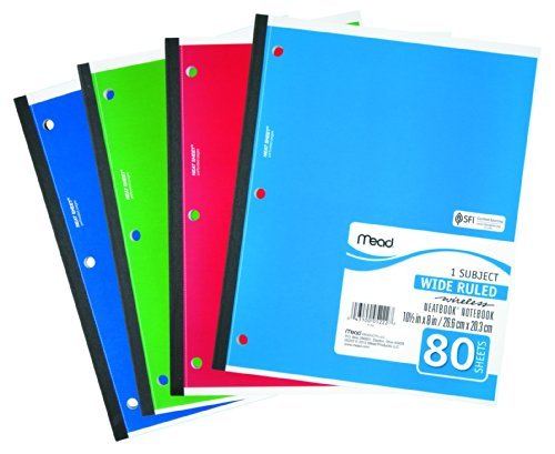043100052227 - Mead 1-Subject Wireless Notebook, 10.5 x 8 Inches, Wide Ruled, 80 Sheets (05222) carousel main 0