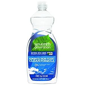 Seventh Generation Natural Dish Liquid, Free & Clear Unscented, 25-Ounce Bottles (Pack of 6), Packaging May Vary