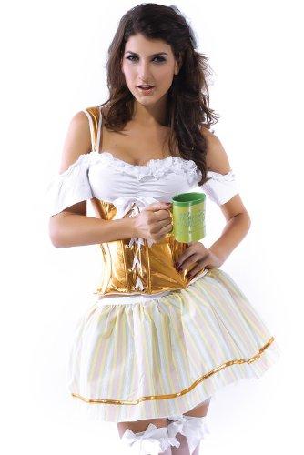 Beer Girl Costume Cosplay Gaming Costume Cosplay Dress Whit + Golden + Yellow