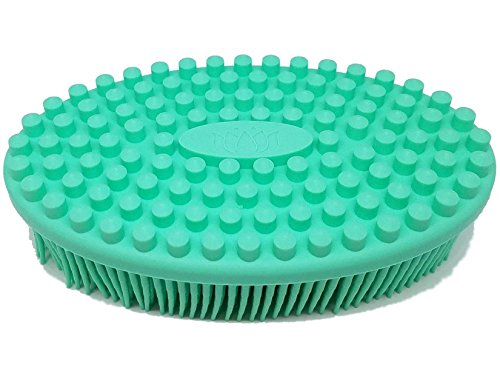 Bath & Shower Loofah Brush by Lotus Ana Essentials, 2 in 1 Face & Body Gentle Scrub Skin Exfoliation, Massage Nubs Improve Cellulite. Better Body Scrubber than Wash Cloth, Pouf or Mitt. 100% Silicone