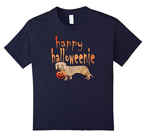 Kids Wiener Dog Halloween Shirt Happy Halloweenie Funny Pumpkin 12 (Halloween Costumes For Miniature Dachshunds)