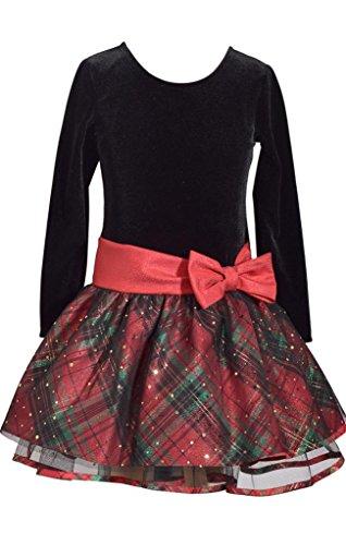 Bonnie Jean Plaid Dress - Bonnie Jean Long Sleeve Christmas Dress with Black Velvet and Red Tartan Plaid 16Y