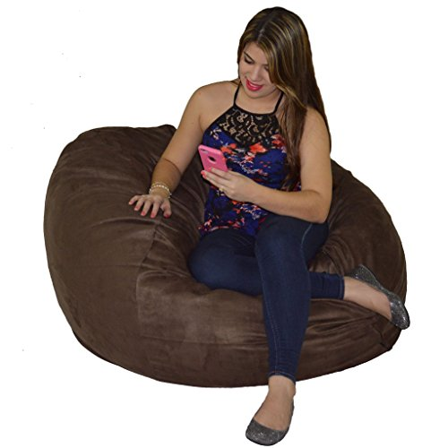 Bean Bag Chair 4'  with 20 Cubic Feet of Premium Foam inside a Protective Liner Plus Removable Machine Wash Microfiber (Microfiber Bean Bag Chairs)