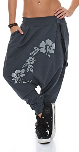 Gris Unique Aladdin Malito Baggy Pantalon Bretelles 91085 Boyfriend Harem Foncé Femme Taille wFXvxFzqrg