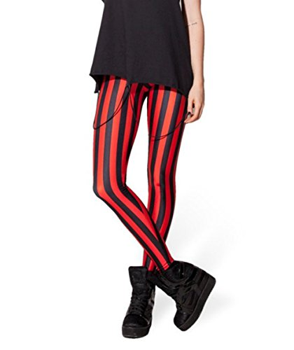 VWU Womens Sexy Digital Printed Leggings Big Girls Fashion Leggings (Black + Red Stripes, -