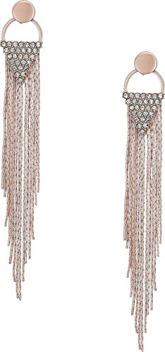 Chain Fringe Earrings - GUESS Womens Chain Fringe Linear Earrings Matte Blush/Crystal One Size