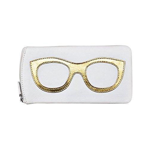 ili New York 6462 Leather Eyeglass Case (White/Gold)