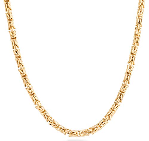 MiaBella 18K Gold Over Sterling Silver Italian 4.5mm Solid Round Byzantine Link Chain Necklace for Women Men, 18