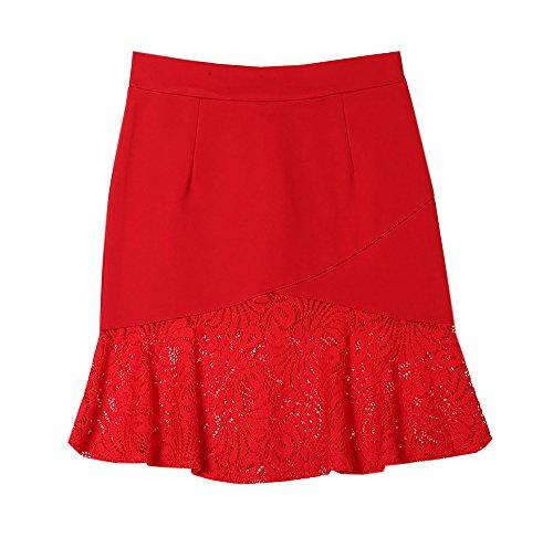 Jupe Femme Jupe Glamour Taille Splice Jupe Tendance Court Skirt Grande Haililais Taille Dentelle Skirt Femelle Haute Red d5vwxHBq