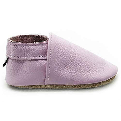 (Owlowla Baby Crib Shoes Suede Leather Non-Slip Soft Soles Baby Infant Toddler Pre-Walker Shoes(F-Lavender,US5.5))
