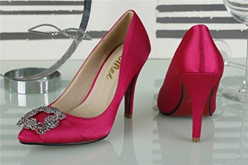 SEXYHER RoseRed 2 8 High Fashion Damenschuhe 2 8 Of Zoll Satin Office SHOMQ968 Diamant Heel 88 Haken pgHxpnaqr