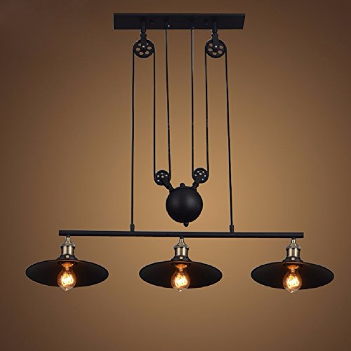 HQLCX Chandelier American Restaurant Bar Mahjong Iron Chandelier Lifting Three Head Pendant Pulley Pendant Lamp by HQLCX-Chandeliers