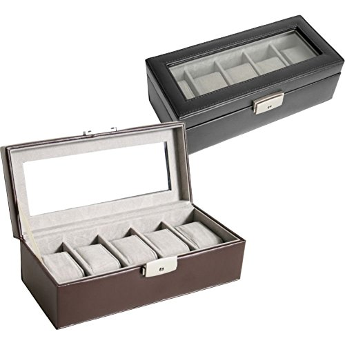 Royce Leather 5 Slot Watch Box - Brown