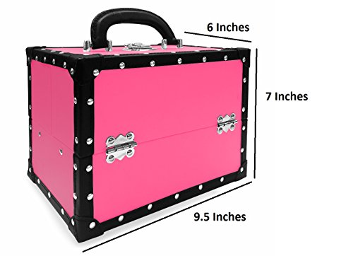 BR Carry All Trunk Train Case with Makeup and Reusable Case Makeup Gift Set (Pink) 3