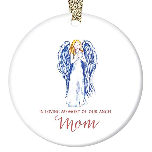 In Loving Memory of Mom Christmas Ornament Beautiful Angel Ceramic Holiday Keepsake Gift Idea for Brother Sister Family Remember Mommy Mother 3