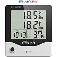 Elitech BT-3 LCD Indoor/Outdoor Digital Hygrometer Thermometer Humidity Monitor with Clock and Min/Max Value