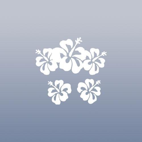 DECORATION WHITE BIKE FLOWER HOME DECOR HAWAII HAWAIIAN HIBISCUS DECAL AUTO MACBOOK CAR HELMET WALL ART LAPTOP DIE CUT NOTEBOOK VINYL DECOR - Helmet Flowers White