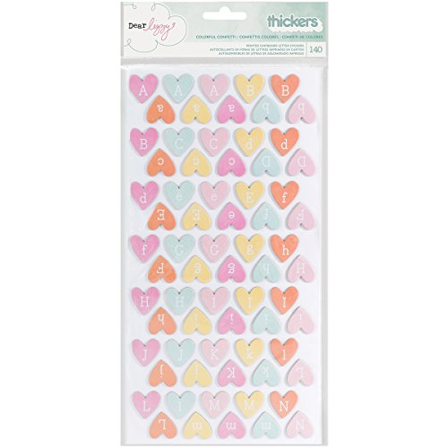 American Crafts 370088 Dear Lizzy Fine and Dandy Chipboard Thickers Colorful Confetti Hearts