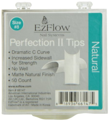 EZ Flow Perfection Ii Tips, Natural No.8, 50 ()