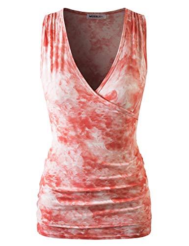 Wrap Rayon Sleeveless Top - Doublju Womens Deep V-Neck Surplice Wrap Sleeveless Tank Top Coralcloud L