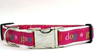 product image for Good Dog! Custom Dog Collar in Pink (Optional Matching Leash Available) XL