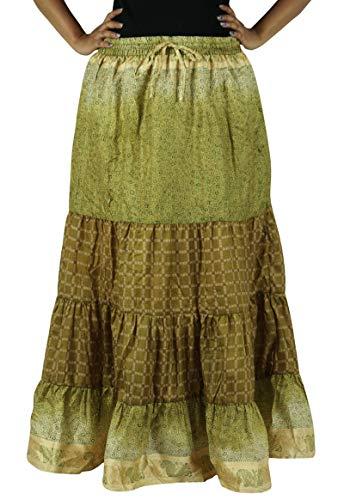 Verte Jupe Pour Long Olive Évasé Indianbeautifulart En Soie Les Maxi Robe Femmes Pur Yzqanaxg7