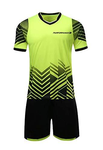 PAIRFORMANCE Boys' Soccer Jerseys Sports Team Training Uniform| Age 4-12 |Boys-Girls-Youth Sport Shirts and Shorts Set (Small, Green) (Uniforme Del Real Madrid Para Dream League Soccer)