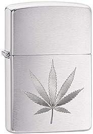 Zippo Lighter: Engraved Ganja Weed Leaf Brushed Chrome 29587
