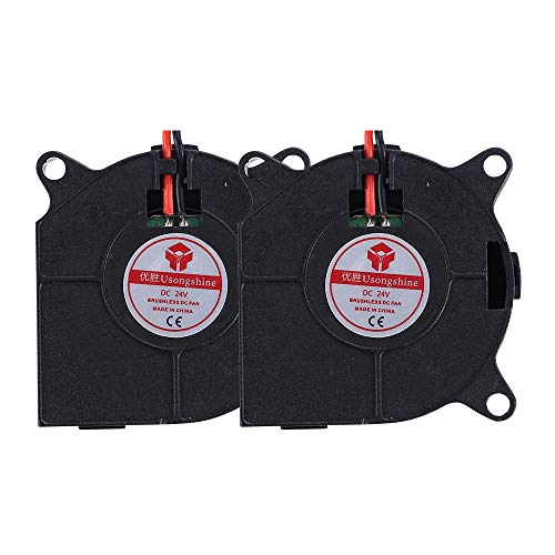 Anmbest 2PCS DC 24V 0.1A 4020 Silent Brushless Blower Radial Cooling Fan 2 pin Brushless 4CM Fans 40mm X 40mm X 20mm for Computer Case 3D Printers Parts (Pc Case Fans Blow In Or Out)