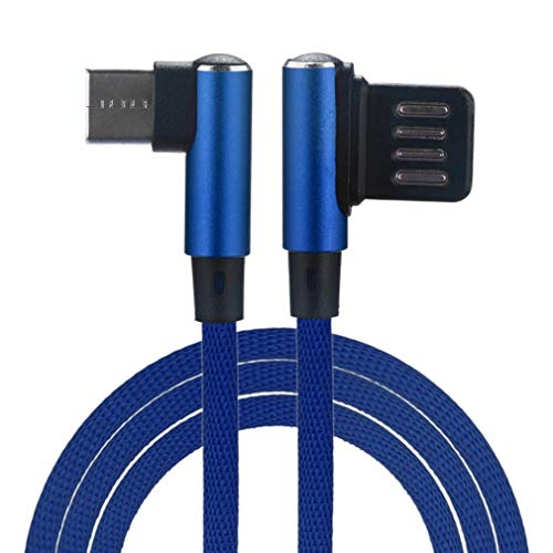 (DEESEE(TM) NewNew Braided 90 Degree Right Angle Type-C/Micro USB Fast Data Sync Charger Cable (Blue))