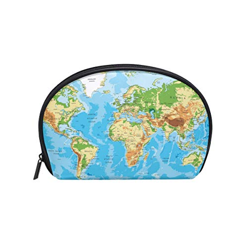 Senya Travel Cosmetic Bag Small Makeup Toiletry Bag Portable Carry Case Pouch Girls Women Personalized Organizer Tote Bag For Jewelry Toiletries Global Map ()