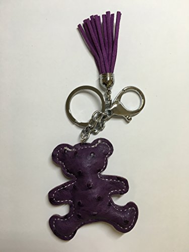 Leather Keychain - Purple - Teddy Bear Miniature Key Chain