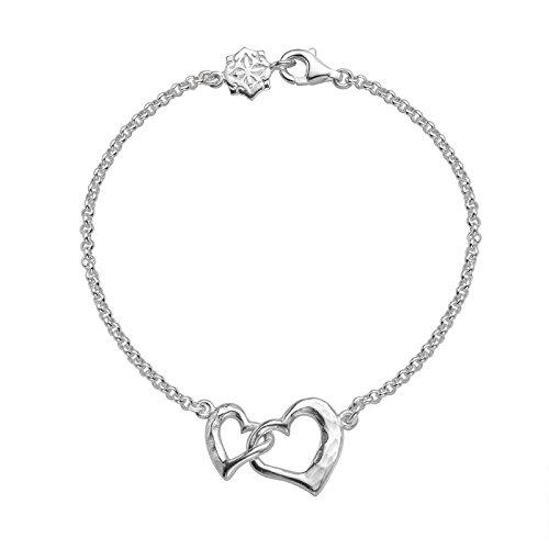d6331991a58e Dower   Hall - Pulsera de plata de ley con corazones entrelazados ...