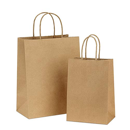Bags 5x3x8& 8x4.75x10, 50 Pcs Each, Gift Bags, Paper Bags,Shopping Bags with Handles Paper, Shopping Bags, Craft Bags, 100% Recyclable Paper ()
