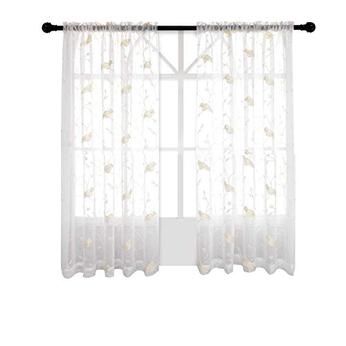 Jinlei Embroidered Birds Leaf Sheer Curtains Bedroom White Voile Drapes Living Room 52 X 63 inch Rod Pocket Set of 2 Curtain Panels White