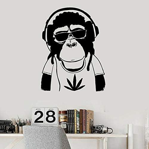 wZUN Hippie Mono Pared calcomanía Auriculares música Dibujos Animados Animal Vinilo Pegatina decoración de habitación Adolescente 63X81cm