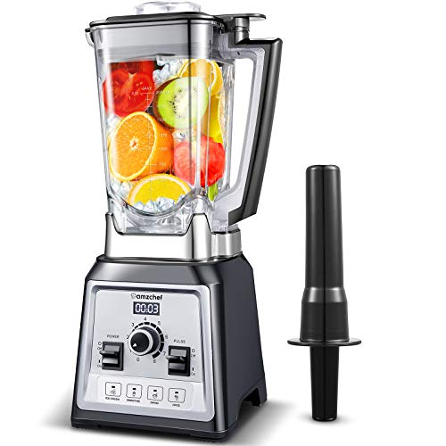 AMZCHEF Professional Blender 2000W, Multifunction Blender for Smoothies with 4 Preset Programs and 8 Adjustable Speeds, 25000 turn/min, 2 Liter, BPA Free, Recipe [Energy efficiency class A +++]