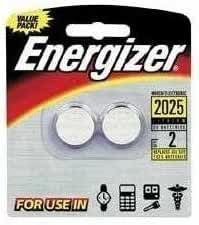 Energizer Lithium Batteries 3.0 Volt For CR2025/DL2025/LF1/3V, Pack of 2