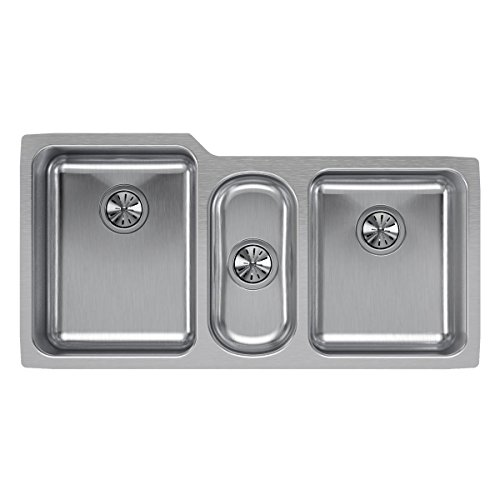 (Elkay Lustertone ELUH4020 Triple Bowl Undermount Stainless Steel Sink)