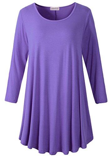 LARACE Women 3/4 Sleeve Tunic Top Loose Fit Flare T-Shirt(S, Purple)