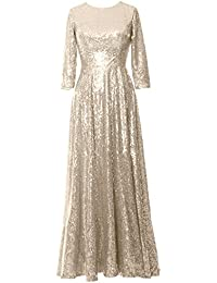Elegant 3/4 Sleeve Sequin Evening Gown Vintage Mother Of The Bride Dress