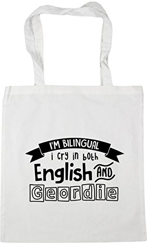 Shopping in Both Bilingual 42cm Tote Bag I Cry 10 Beach Gym x38cm Geordie I'm HippoWarehouse and litres White English 4xXvwqf5In