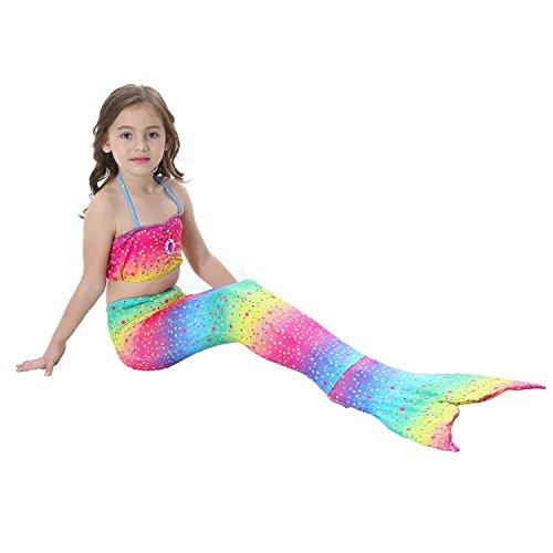 Bigface Up 3PCS Girls Swimsuit Mermaid Tail Swimwear Bikini Set Costume for Swimming(Rainbow multi 130) (Swimming Costumes)